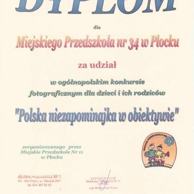 Dyplom filii Przedszkola nr 34
